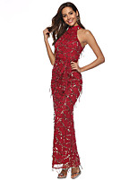 cheap -Diva Retro Vintage Disco 1980s Summer Dress Women's Sequins Sequin Costume Red Vintage Cosplay Party