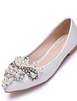 baratos -Mulheres Couro Ecológico Primavera & Outono Doce Sapatos De Casamento Sem Salto Dedo Apontado Pérolas Sintéticas Branco