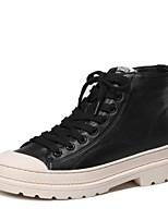 Недорогие -Жен. Наппа Leather Зима На каждый день / Минимализм Ботинки На низком каблуке Круглый носок Ботинки Белый / Черный / Лозунг
