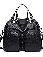Недорогие -женские сумки наппа кожаная сумка на молнии светло-серый / красный / черный