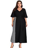 Недорогие -женское повседневное платье миди слиф с v-образным вырезом черный xl xxl xxxl xxxxl