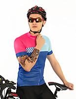 Недорогие -FirtySnow Муж. С короткими рукавами Велокофты - Синий+Розовый Однотонный В полоску Велоспорт Джерси Дышащий Быстровысыхающий Виды спорта Полиэстер Горные велосипеды Шоссейные велосипеды Одежда