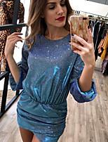 Недорогие -женский день рождения выше колена стройное облегающее платье розовое золото синий s m l xl