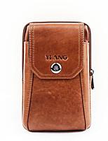 Недорогие -Муж. Мешки Воловья кожа Мобильный телефон сумка Сплошной цвет Коричневый