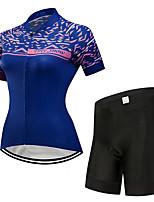 Недорогие -FirtySnow Жен. С короткими рукавами Велокофты и велошорты - Синий Велоспорт Наборы одежды Дышащий Быстровысыхающий Виды спорта Полиэстер Однотонный Горные велосипеды Шоссейные велосипеды Одежда