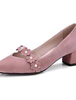 Недорогие -Жен. Замша / Овчина Весна Обувь на каблуках На толстом каблуке Черный / Розовый