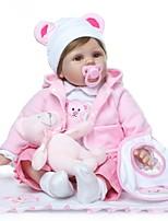 Недорогие -NPKCOLLECTION Куклы реборн Кукла для девочек Девочки 24 дюймовый как живой Подарок Искусственная имплантация Коричневые глаза Детские Девочки Игрушки Подарок
