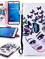 Недорогие -Кейс для Назначение Huawei P9 Lite Кошелек / Бумажник для карт / Защита от удара Чехол Бабочка / Соблазнительная девушка Твердый Кожа PU для Huawei P9 Lite