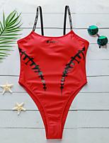Недорогие -Жен. Черный Красный Смелые Закрытый купальник Купальники - Буквы С принтом M L XL