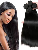 Недорогие -4 Связки Бразильские волосы Прямой Необработанные натуральные волосы Человека ткет Волосы Сувениры для чаепития Удлинитель 8-28 дюймовый Естественный цвет Ткет человеческих волос
