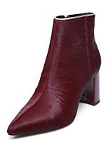 Недорогие -Жен. Конский волос Зима Ботинки На толстом каблуке Закрытый мыс Ботинки Черный / Вино