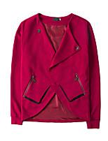 Недорогие -Муж. Повседневные Уличный стиль Наступила зима Обычная Куртка, Однотонный V-образный вырез Длинный рукав Полиэстер Черный / Красный L / XL / XXL