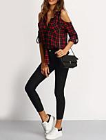 Недорогие -узкая женская рубашка азиатского размера - геометрический v-образный вырез