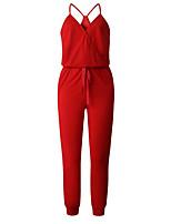 Недорогие -Жен. Повседневные Черный Красный Тёмно-синий Комбинезоны, Однотонный С кисточками M L XL Без рукавов