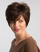 Недорогие -Человеческие волосы без парики Натуральные волосы Естественный прямой Стрижка под мальчика Модный дизайн / Легко туалетный / Удобный Коричневый Короткие Без шапочки-основы Парик Жен.