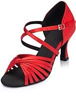 Недорогие -Жен. Обувь для латины Сатин На каблуках Планка Тонкий высокий каблук Персонализируемая Танцевальная обувь Черный / Желтый / Красный