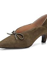 Недорогие -Жен. Замша / Овчина Весна Обувь на каблуках На шпильке Черный / Военно-зеленный