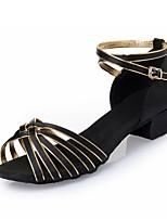 Недорогие -Девочки Обувь для латины Шёлк На каблуках Ленты Толстая каблук Танцевальная обувь Черный и золотой