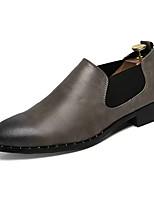 Недорогие -Муж. Комфортная обувь Полиуретан Весна На каждый день Мокасины и Свитер Нескользкий Черный / Серый