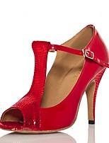 Недорогие -Жен. Обувь для латины Полиуретан Сандалии / На каблуках Пряжки / Планка Тонкий высокий каблук Персонализируемая Танцевальная обувь Светло-красный