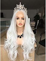 Недорогие -Синтетические кружевные передние парики Жен. Естественные кудри Белый Стрижка каскад 130% Человека Плотность волос Искусственные волосы 24 дюймовый Женский Белый Парик Длинные Лента спереди Белый
