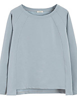 Недорогие -женская тонкая футболка - сплошной цвет шею