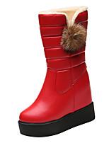 Недорогие -Жен. Полиуретан Зима Ботинки Скрытая пятка Круглый носок Сапоги до середины икры Черный