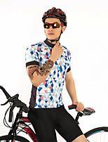 Недорогие -FirtySnow Муж. С короткими рукавами Велокофты - Синий / белый Клетки Велоспорт Джерси Дышащий Быстровысыхающий Виды спорта Полиэстер Горные велосипеды Шоссейные велосипеды Одежда / Эластичная