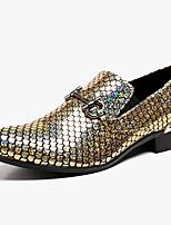 Недорогие -Муж. Официальная обувь Наппа Leather Весна & осень На каждый день / Английский Мокасины и Свитер Нескользкий Золотой / Серебряный / Для вечеринки / ужина