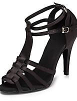 Недорогие -Жен. Обувь для латины Сатин На каблуках Планка Тонкий высокий каблук Персонализируемая Танцевальная обувь Черный / Цвет-леопард