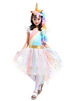 abordables -Unicorn Robes Fille Enfant Arc-en-ciel Halloween Halloween Carnaval Le Jour des enfants Fête / Célébration Tulle Coton Tenue Jaune / Bleu / Rose Licorne