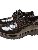 Недорогие -Мальчики Обувь Кожа Весна & осень Удобная обувь Туфли на шнуровке для Для подростков Черный / Темно-красный