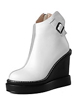 Недорогие -Жен. Наппа Leather Зима Милая / Минимализм Обувь на каблуках Туфли на танкетке Круглый носок Пряжки Белый / Красный
