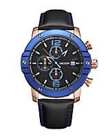 Недорогие -Муж. Наручные часы Кварцевый Кожа Черный Защита от влаги Календарь Аналого-цифровые На каждый день Мода - Синий / Нержавеющая сталь