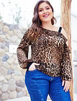 Недорогие -узкая блузка азиатского размера - леопардовая / полосатая с плеча
