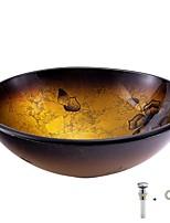 Недорогие -умывальник для ванной / монтажное кольцо для ванной / водосток для ванной Античный - Закаленное стекло Круглый