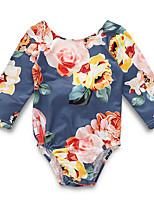 Недорогие -малыш Девочки Уличный стиль Повседневные Цветочный принт Длинный рукав Полиэстер Bodysuit Синий