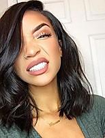 Недорогие -Не подвергавшиеся окрашиванию Лента спереди Парик Бразильские волосы Естественные кудри Парик Ассиметричная стрижка 130% 150% Плотность волос Женский Натуральный 100% девственница Нейтральный Жен.