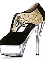 Недорогие -Жен. Синтетика Весна лето Обувь на каблуках На шпильке Открытый мыс Черный / Белое / серебро / Белый / Желтый