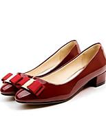 Недорогие -Жен. Лакированная кожа Весна Обувь на каблуках На толстом каблуке Черный / Красный / Миндальный