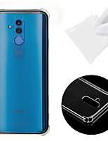 Недорогие -Кейс для Назначение Huawei Huawei Mate 20 Lite Защита от удара / Прозрачный Кейс на заднюю панель Однотонный Мягкий ТПУ для Huawei Mate 20 lite