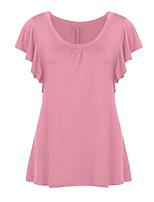 Недорогие -женская футболка большого размера - однотонная шея