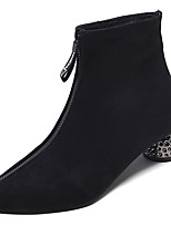 Недорогие -Жен. Полиуретан Зима Минимализм Ботинки На толстом каблуке Заостренный носок Сапоги до середины икры Черный