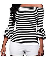 Недорогие -женская тонкая футболка - полоска с плеча