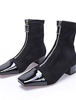 Недорогие -Жен. Эластичная ткань Осень Ботинки На плоской подошве Ботинки Черный / Кофейный
