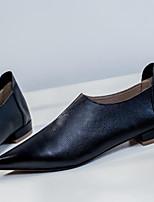Недорогие -Жен. Наппа Leather Осень Милая / Минимализм На плокой подошве На низком каблуке Заостренный носок Черный / Бежевый