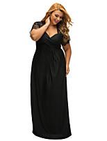 Недорогие -Жен. Классический Маленькое черное Платье - Однотонный, Кружева Макси