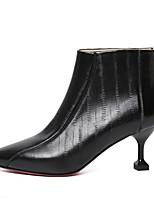 Недорогие -Жен. Наппа Leather Осень Милая / Минимализм Ботинки На шпильке Заостренный носок Ботинки Пряжки Черный