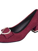 Недорогие -Жен. Полиуретан Весна На каждый день Обувь на каблуках На толстом каблуке Бант Черный / Красный