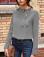 Недорогие -женская блузка азиатского размера - однотонная шея